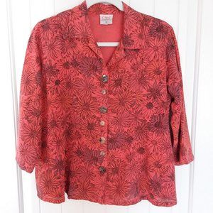 Floral Trapeze Style Button Up Top Size S